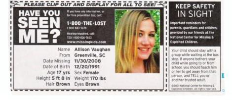 Missing in Greenville SC